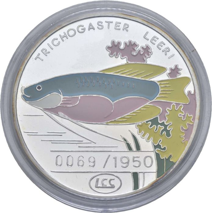 Noord-Korea - 500 Won 1996 - Mosaikfadenfisch - mit colour applikation 1 - Zilver