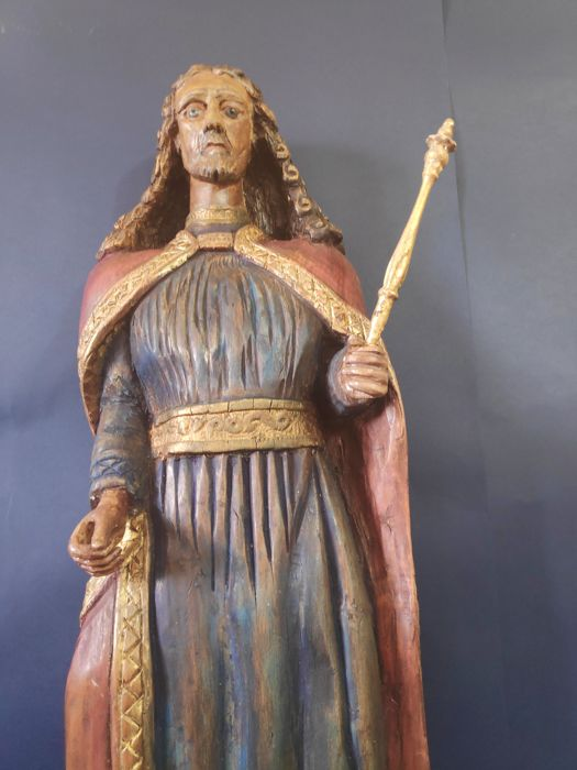 A large polychrome statue of Jesus - beech wood - Second half 19th century