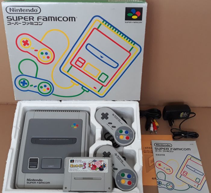 Super Famicom console with rare Kirby game and universal power supply - Console with game - In originele verpakking
