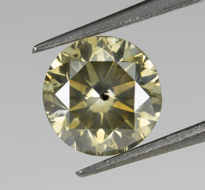 Diamant - 1.23 ct - Natural Fancy Intense Greenish Yellow - I1 *NO RESERVE*