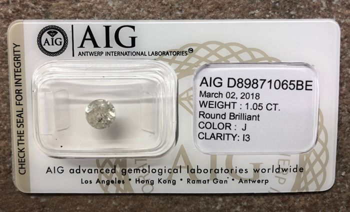 1 pcs Diamant - 1.05 ct - Brillant - J - I3 (piqué)