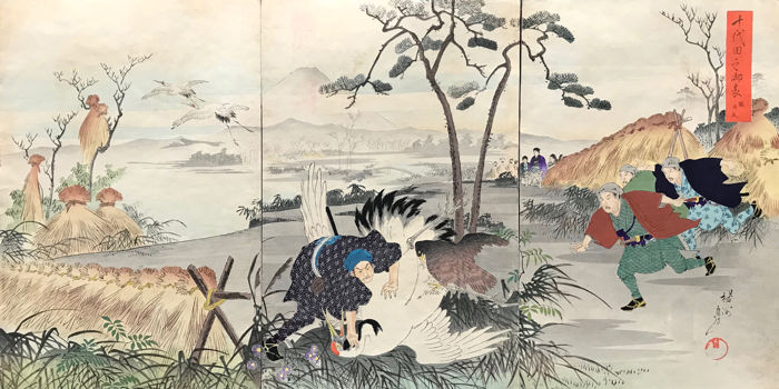 Xilografía original - Toyohara Yoshu Chikanobu (1838-1912) -  'Tsuru onari' (Hunting cranes) - From the series 'Chiyoda no on'omote ' (Chiyoda Outer Palace) - 1897