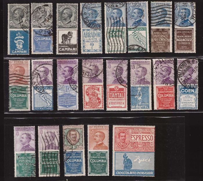 Italy Kingdom 1924 - Complete set of advertising stamps - Sassone NN. 1/21