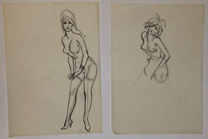 Gideon Brugman  - 2 originele tekeningen - Pin-up - Drawing in pencil