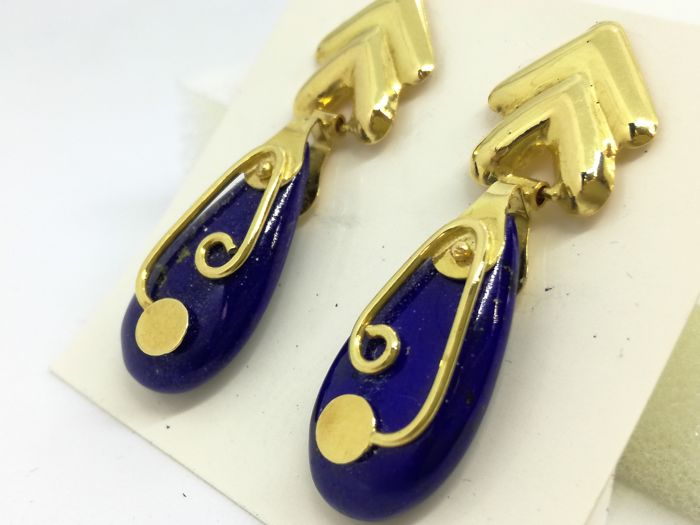 18 kt. Gold - Earrings Lapis lazuli