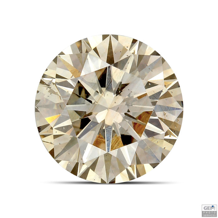 1 pcs Diamant - 1.54 ct - Briljant - fancy yellowish brown - SI1