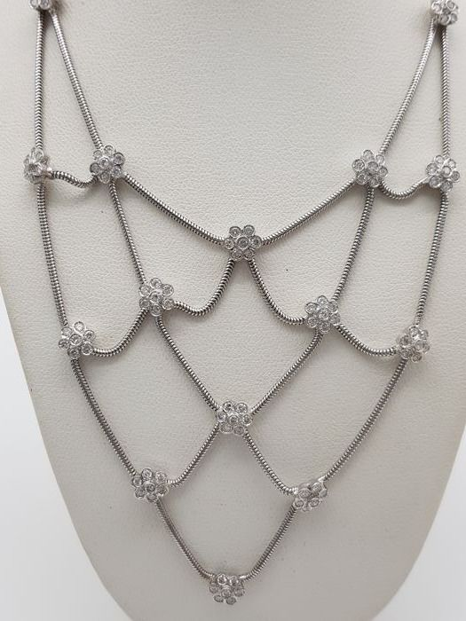 18 quilates Oro, Oro blanco - Collar, Collar con colgante - 2.15 ct Diamante