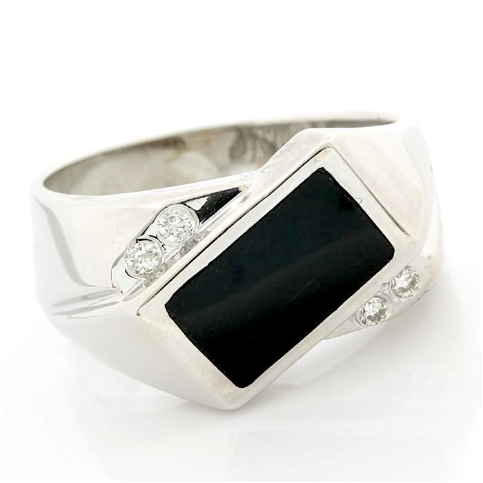 14 karaat Witgoud - Ring - 0.06 ct Diamant - Zwarte onyx