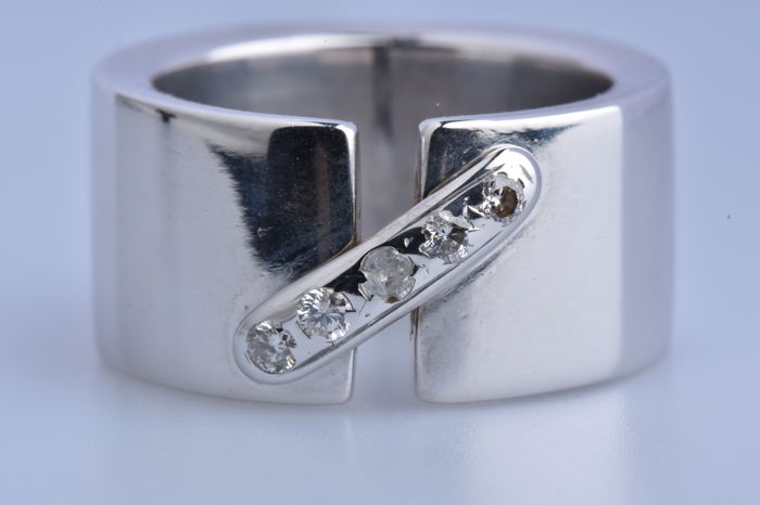 18 quilates Oro blanco - Anillo - 0.16 ct Diamante