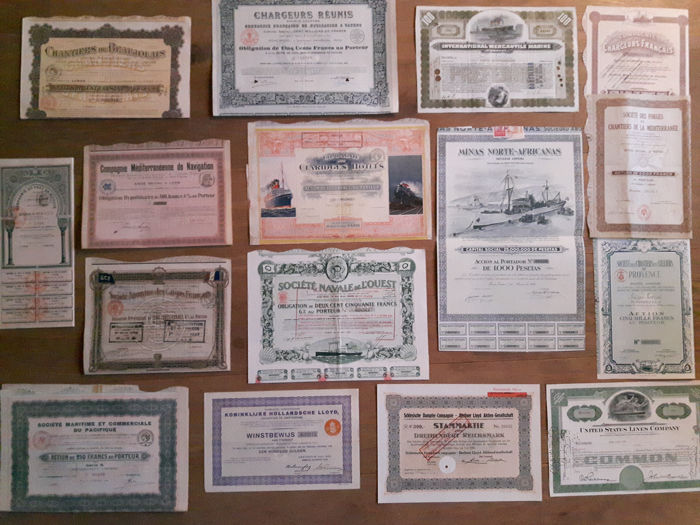 16 original maritime  shares and bonds - 16 - Paper - First half 20th century