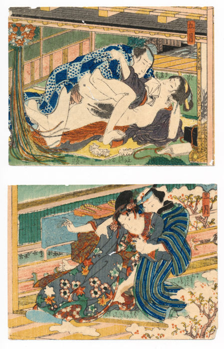 """Two shunga woodblock prints by an artist of the Utagawa school, possibly Kunisada - """"March"""" and """"May"""" - Japan - Mid-19th century"""