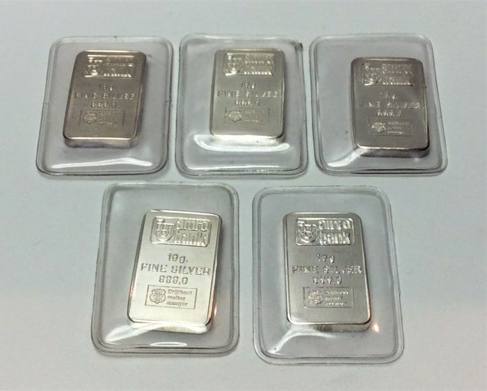 H. Drijfhout & Z.n. - 5 x 10 grams - 999/1000 - Minted silver bars - AMRO Bank - Sealed