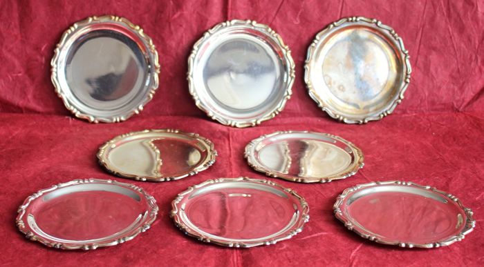Coasters - Set of 8 - .800 silver - Bottazzi - Italy - 1900-1949