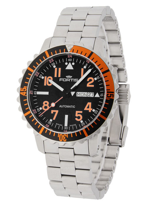 Fortis - Aquatis Marinemaster Day/Date Orange - 670.19.49 M - Homem - 2011-presente
