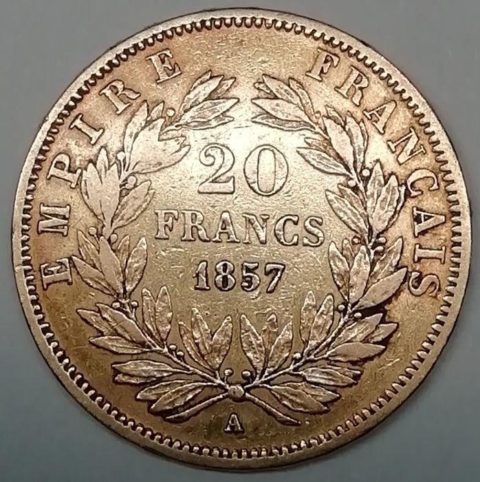 20 Francs 1857-A Napoleon III - Or