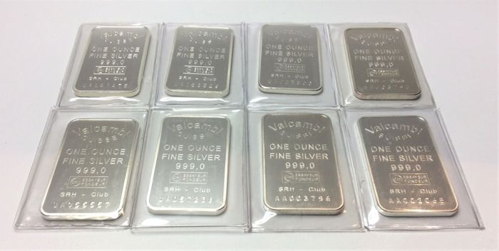 Valcambi Suisse - 8 x one ounce - 999/1000 - Minted silver bars - Sealed