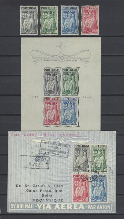 Portugal 1946 - Patron Saint of Portugal. Block, complete set and airmail letter Porto to Beira - Mundifil 673/676, bloque 12