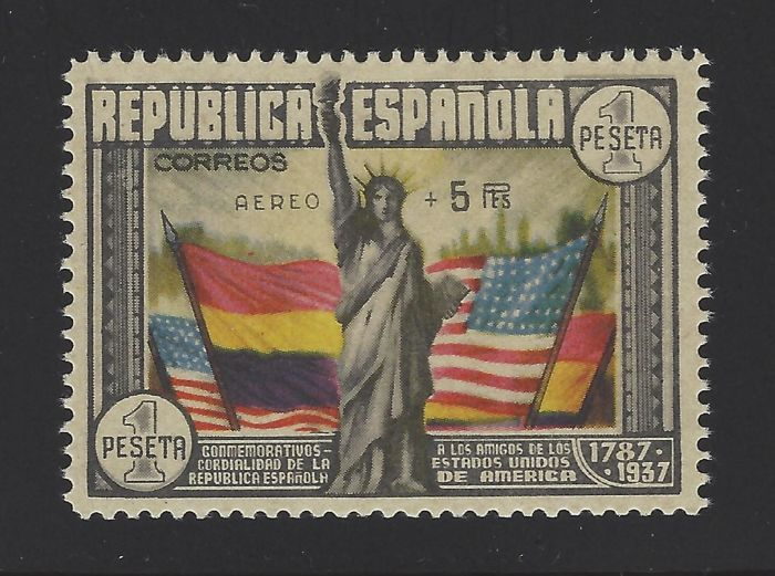 Spanje 1938 - USA Constitution stamp + 5 pts with report - Edifil 765