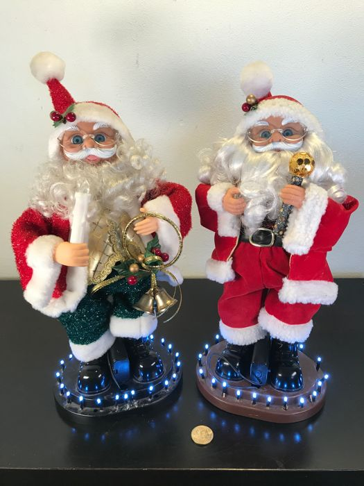 Set of two finely decorated Christmas men-35 cm - Plastic, Textiles