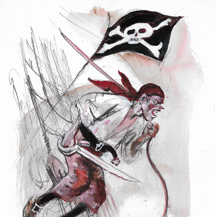 Follet, René - Dessin original en couleur -  Pirate Jack