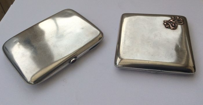 Cigarette Cases - 2 - .875 (84 Zolotniki) silver - Russia - 19th century (1800-1900)