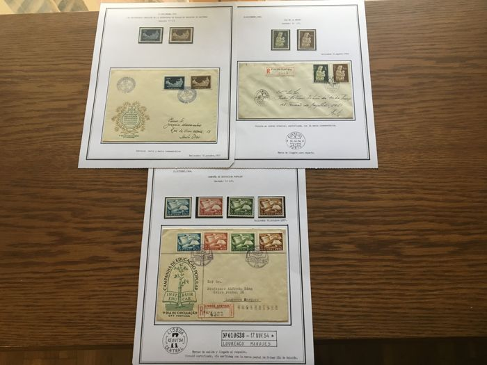 Portugal 1954/1956 - Collection in sheets plus some letter