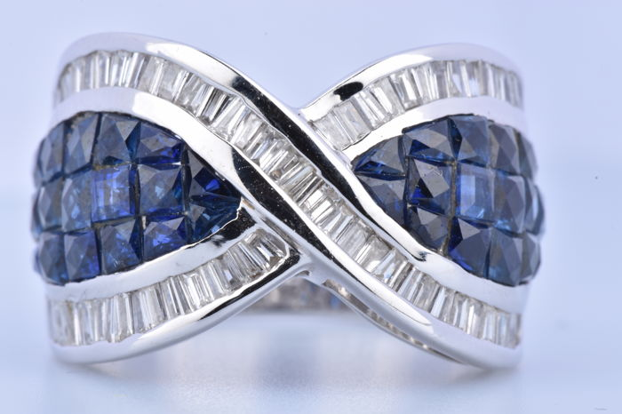 18 karat Hvitt gull - Ring - 1.56 ct Diamant - Safir