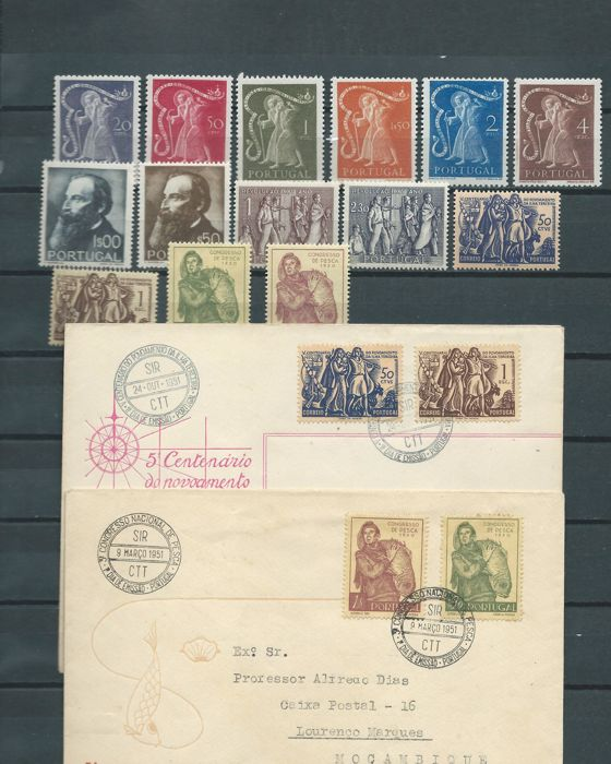 Portugal 1950/1951 - Batch of sets and first day covers from this - Mundifil 723/728, 729/730, 731/732, 737/738, 739/740