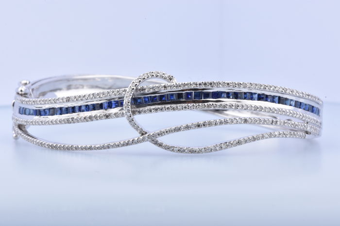 18 quilates Oro blanco - Brazalete - 2.44 ct Zafiro - Diamante