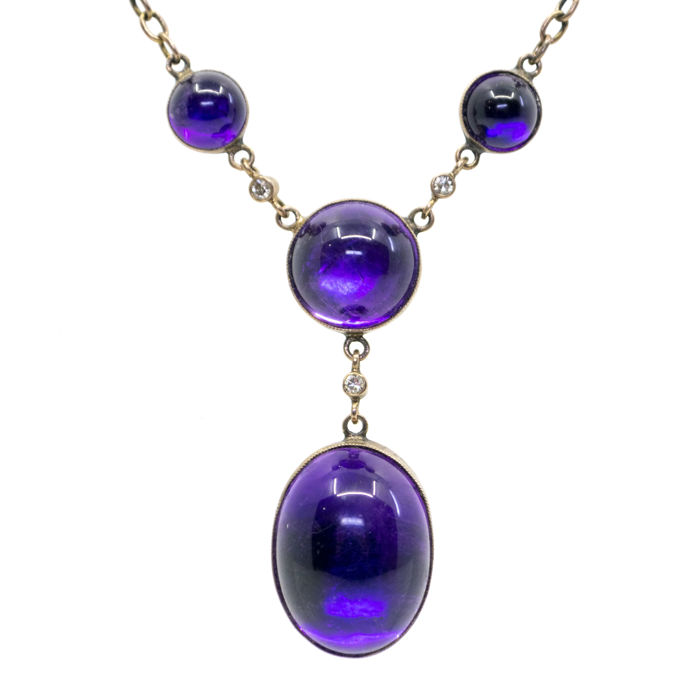 Necklace - Gold - Amethyst and Diamond
