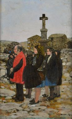 Christopher Compton Hall (1930-) - Paying respects at a funeral