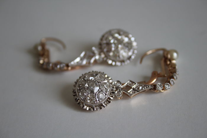 Earrings - Gold - Natural (untreated) - 3.1 ct - Diamond and Pearl