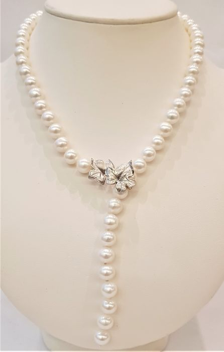 925 Silver - 9x10mm Lustrous Freshwater Pearls - Necklace