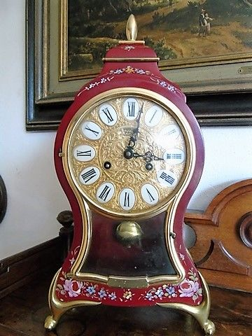 Boulle chimney clock - Metal Bordeaux & Gold Colored - 20th century