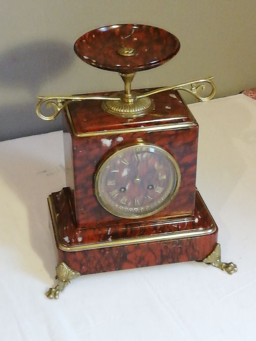 Napoleonic clock III - mécanisme japy & frères - Red veined marble - Second half 19th century