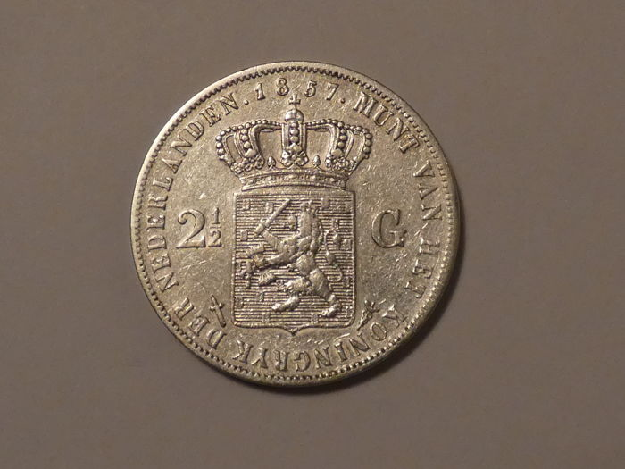 The Netherlands - 2 1/2 Gulden 1857 Willem III - Silver