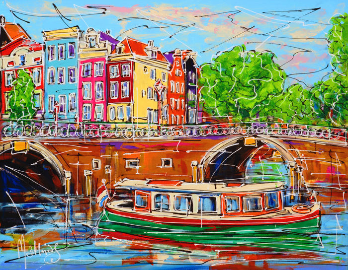 Mathias - Canal of Amsterdam, tourist boat and bridge
