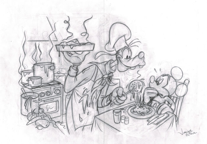 Goofy Chef & Mickey Mouse - Original Sketch - Jaume Esteve - First edition