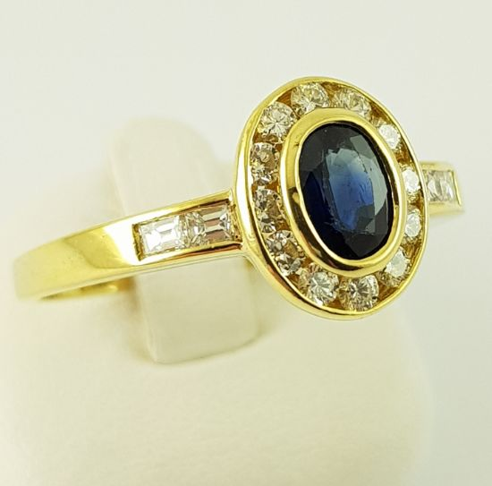 18 kt Gelbgold - Ring - 0.50 ct Saphir - Diamant