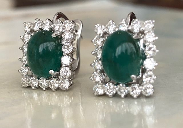 18 quilates - Pendientes - 4.00 ct Esmeralda - Diamante
