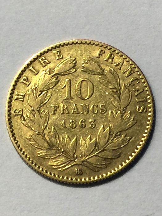 10 Francs 1863-BB Napoleon III - Or