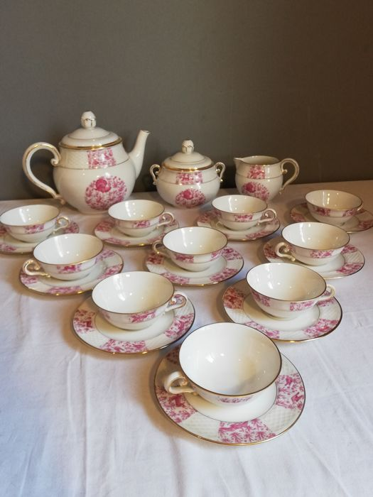 Signé S. FR - coffee / tea set with exotic decor 10 people - Porcelain from France