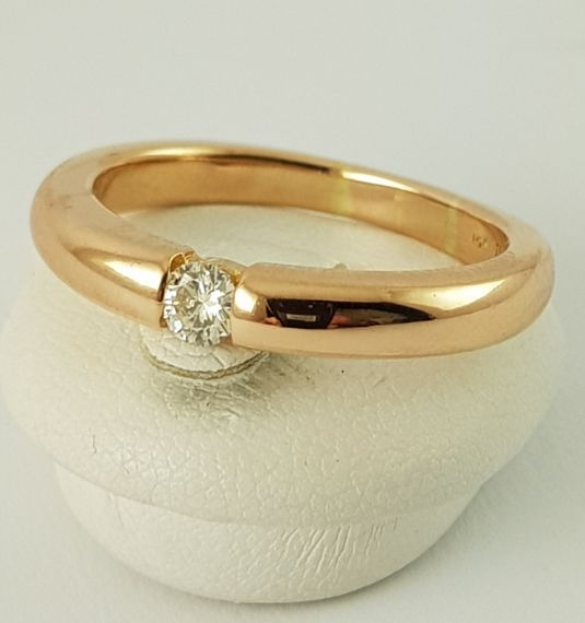 18 kt Roségold - Diamond Ring - 750 Gold - 1 Diamond , 0.20 - 0.20 ct Diamant