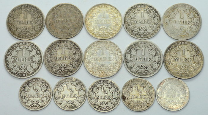 Germany - 1/2, 1 Mark 1875/1915 (15 coins) - Silver