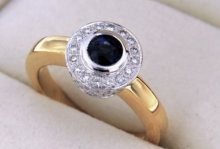 evagold - 18 kt. Bicolour, Gold - Ring Sapphire
