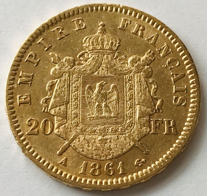 20 Francs 1861 A - Napoleon III. - Or