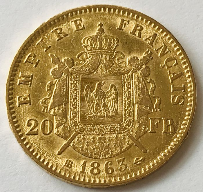 20 Francs 1863 BB - Napoleon III. - Or