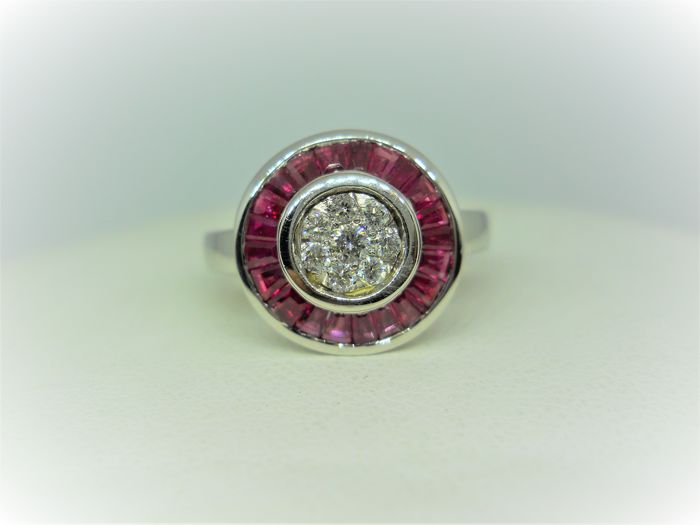 18 carats Or - Bague Rubis - Diamant