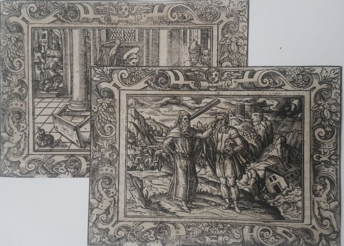 2 prints by Unknown artist - Religious scenes - 16th century