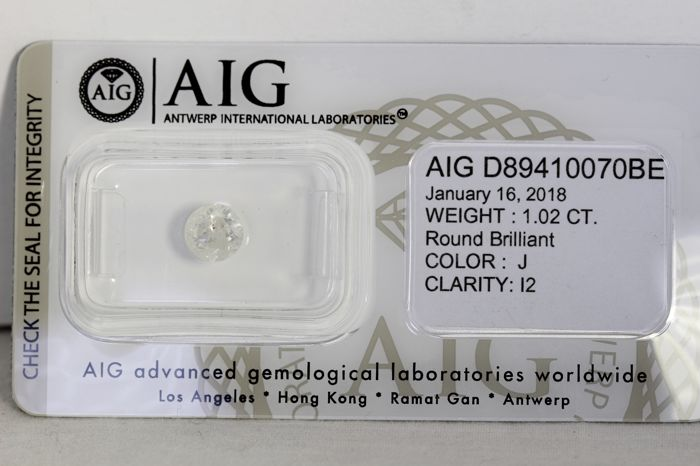 AIG Sealed Diamond  - 1.02 ct - J  , I2 - * NO RESERVE PRICE *